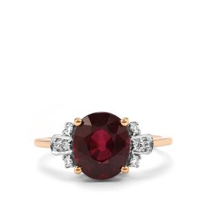 Malawi Garnet Ring with Diamond in 18K Gold 3.86cts