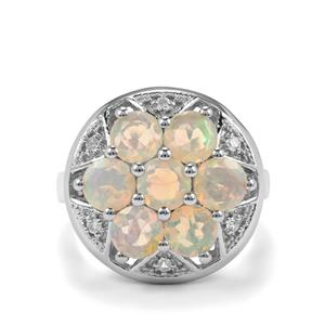 Ethiopian Opal & White Topaz Sterling Silver Ring ATGW 2.37cts