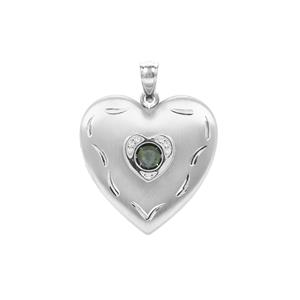 'The Beating Heart' Alexandrite Locket with White Zircon in Sterling Silver 0.32ct