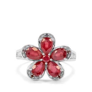 Malagasy Ruby & Red Diamond Sterling Silver Ring ATGW 3.45cts (F)