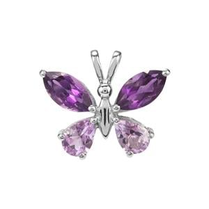 Zambian Amethyst Pendant with Moroccan Amethyst in Sterling Silver 3.40cts