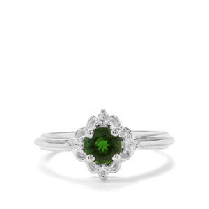 Chrome Diopside & White Zircon Sterling Silver Ring ATGW 0.91cts