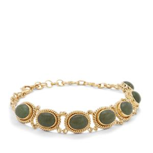 Nephrite Jade Bracelet in Gold Plated Sterling Silver 13.95cts