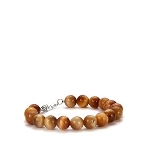 Golden Tiger's Eye Bracelet in Sterling Silver 119.80cts