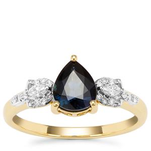 Nigerian Blue Sapphire Ring with Diamond in 18K Gold 1.18cts