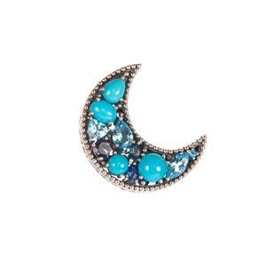 Multi-gemstone Samuel B Crescent Moon Pendant in Sterling Silver 5.41cts