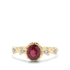 Malawi Garnet & White Diamond 9K Gold Ring ATGW 1.38cts