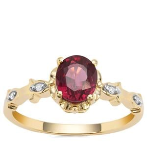 Malawi Garnet Ring with White Diamond in 9K Gold 1.38cts