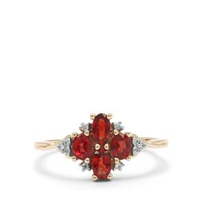 Winza Ruby Ring with White Zircon in 9K Gold 1.30cts