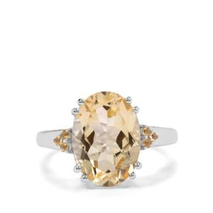 5.31ct Diamantina Citrine Sterling Silver Ring