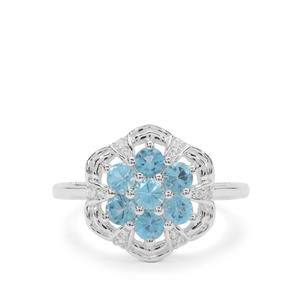 Swiss Blue Topaz & White Zircon Sterling Silver Ring ATGW 1.10cts