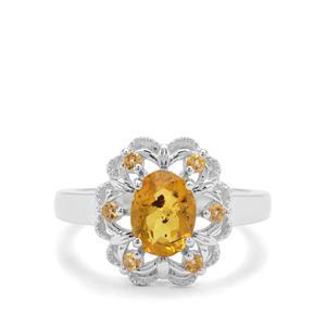 Burmese Amber & Rio Golden Citrine Sterling Silver Ring ATGW 0.57ct
