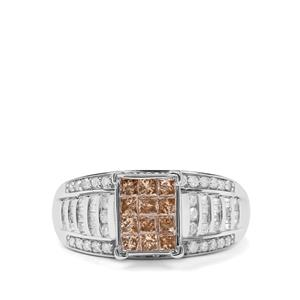 1ct Champagne & White Diamond 9K White Gold Tomas Rae Ring
