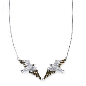 Black Spinel Swallows Bird Necklace with White Zircon in Sterling Silver 0.65cts