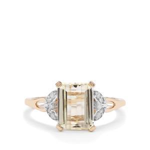 Minas Novas Hiddenite Ring with Diamond in 9K Gold 2.76cts