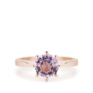 Fara Cut Rose De France Amethyst Ring in Rose Tone Sterling Silver 1.40cts