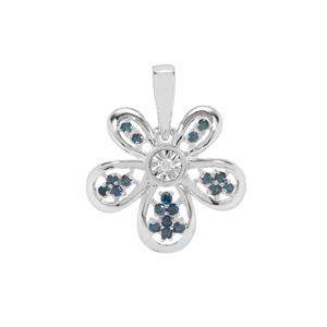 Diamond Pendant with Blue Diamond in Sterling Silver 0.20ct
