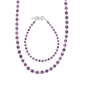 Zambian Amethyst & White Topaz Sterling Silver Set of Bead Bracelet & Necklace ATGW 33.04cts