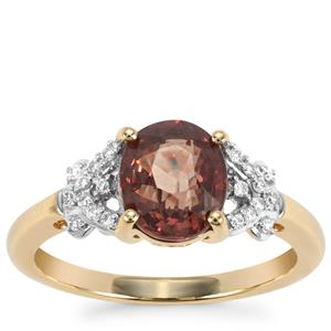 Tsivory Color Change Garnet Ring with Diamond in 18k Gold 2.44cts