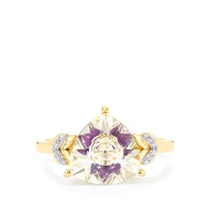 Lehrer KaleidosCut White Topaz, Ametista Amethyst Ring with Diamond in 10K Gold 3.41cts
