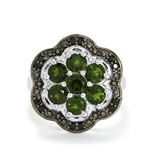 Chrome Diopside Ring with Black Spinel in Sterling Silver 2.47cts