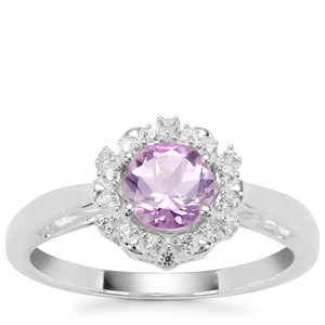 Rose du Maroc Amethyst Ring with White Zircon in Sterling Silver 0.89cts
