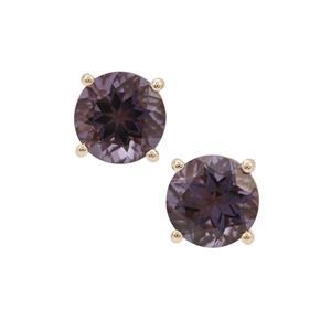 3.45ct Blueberry Quartz 9K Gold Earrings