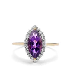 Kenyan Amethyst Ring with White Zircon in 9K Gold 1.76cts