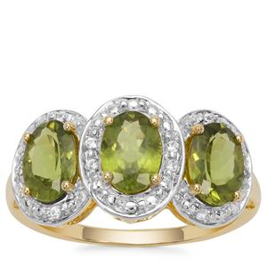 Vesuvianite Ring with White Zircon in 9K Gold 2.54cts