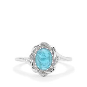 Neon Apatite Ring with White Zircon in Sterling Silver 1.72cts