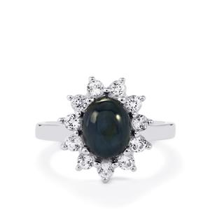 Blue Star Sapphire & White Topaz Sterling Silver Ring ATGW 3.95cts