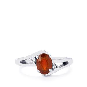 Ciana Hessonite Garnet & White Topaz Sterling Silver Ring ATGW 1.68cts