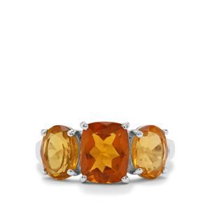1.78ct Burmese Amber Sterling Silver Ring
