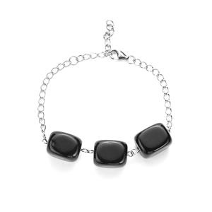 Black Agate Bracelet in Sterling Silver 70.90cts