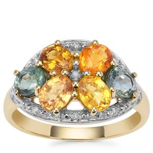 Rainbow Sapphire Ring with Diamond in 9K Gold 2.88cts