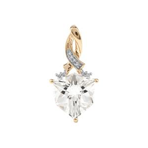 Alpine Cut Optic Quartz Pendant with Diamond in 10K Gold 4.28cts