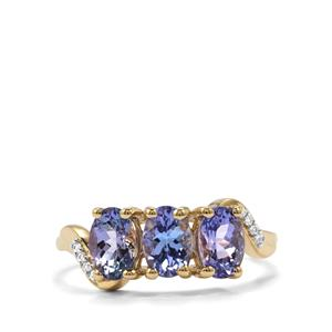 AA Tanzanite Ring with White Zircon in 10K Gold 1.85cts