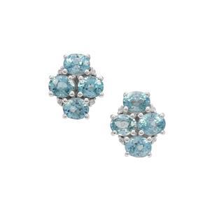 Ratanakiri Blue Zircon Earrings with White Zircon in Sterling Silver 4.55cts