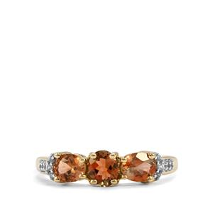 Sopa Andalusite Ring with White Zircon in 9K Gold 1.09cts