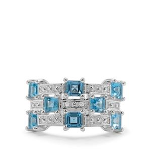 Swiss Blue Topaz Ring with White Zircon in Sterling Silver 2.11cts