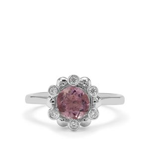 Natural Pink Fluorite Ring with White Zircon in Sterling Silver 1.62cts