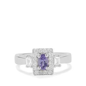 Tanzanite & White Zircon Sterling Silver Ring ATGW 0.97ct