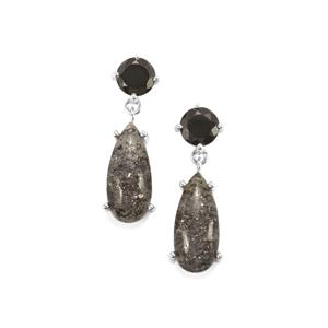 Midnight Astraeolite & Black Spinel Sterling Silver Earrings ATGW 15.14cts