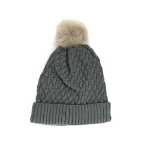 Knitted Bobble Hat With Faux Fur Pom Pom - Grey