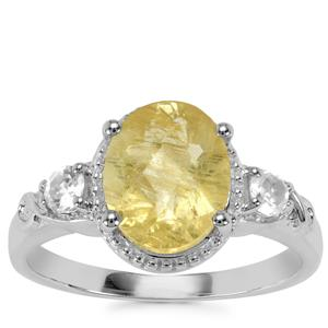 Chartreuse Sanidine Ring with White Topaz in Sterling Silver 2.53cts