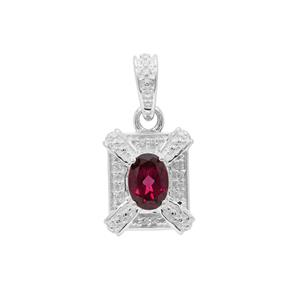 Tocantin Garnet Pendant with White Zircon in Sterling Silver 1.06cts