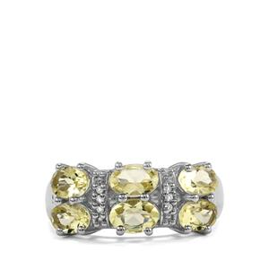 Chartreuse Sanidine & White Topaz Sterling Silver Ring ATGW 2.44cts