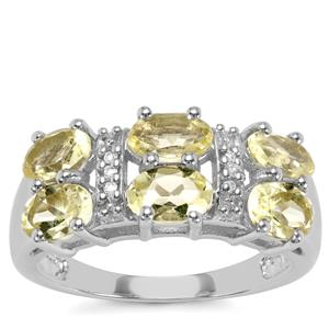 Chartreuse Sanidine Ring with White Topaz in Sterling Silver 2.44cts