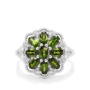 Chrome Diopside & White Zircon Sterling Silver Ring ATGW 2.27cts