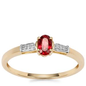 Burmese Red Spinel Ring with Diamond in 10K Gold 0.35ct
